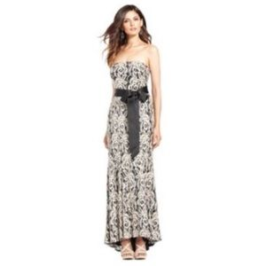 Betsy & Adam Sequin Lace Mermaid Strapless Gown